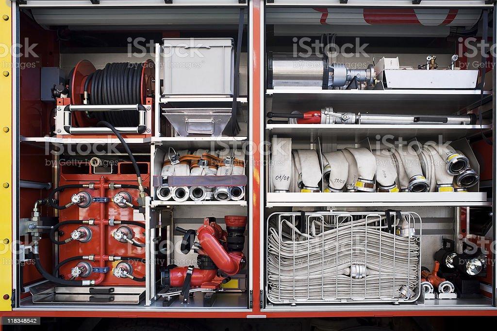 Firefighters equipment stock photo