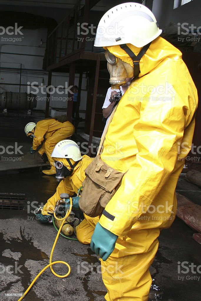 firefighters in chemical protection suit royalty-free stock photo