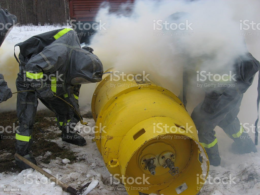 Firefighters on doctrines stock photo