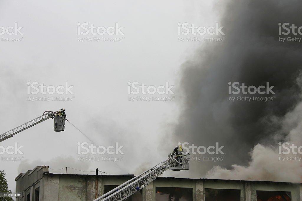 firefighters on duty stock photo