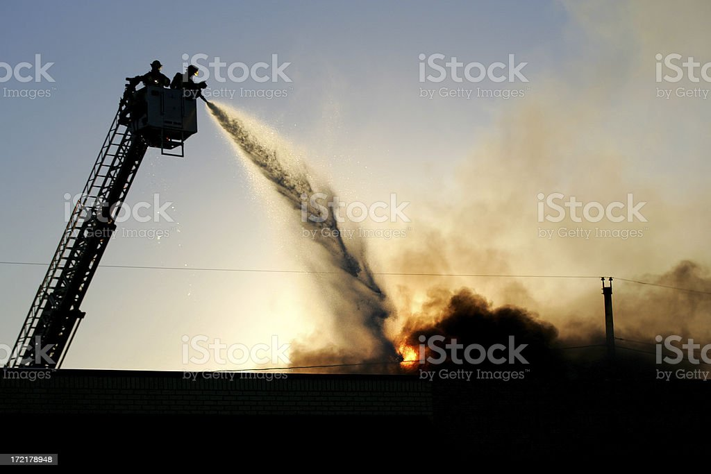 Firefighters silhouette royalty-free stock photo
