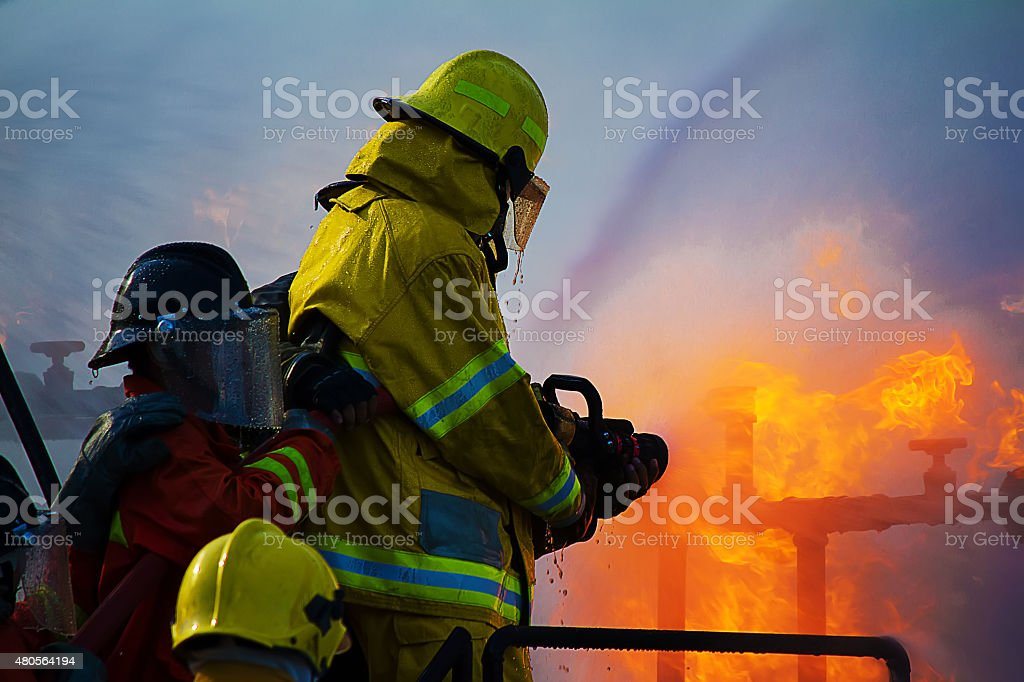 Firefighters training stock photo