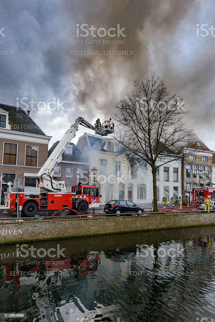 Firefighting in the old city of Kampen stock photo