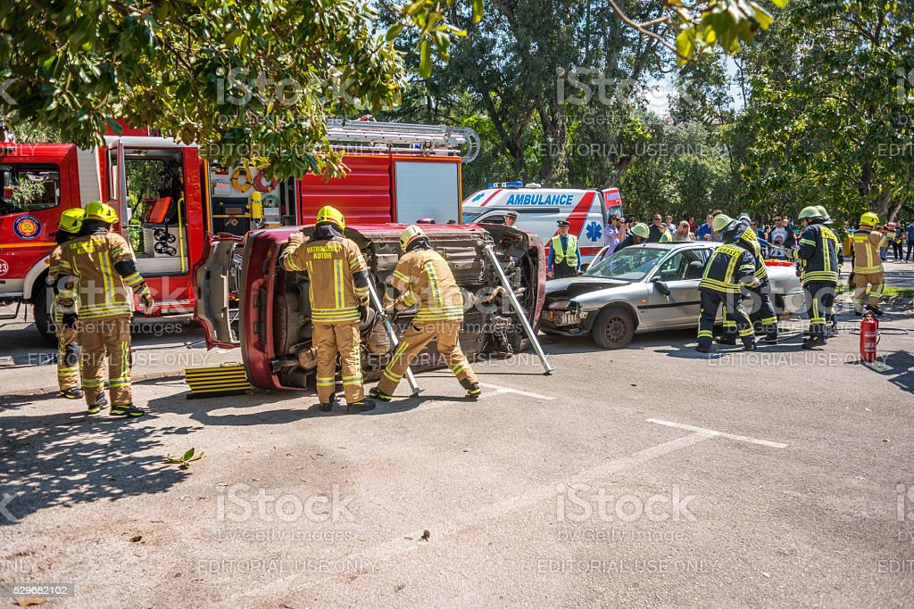 Firefighting, Search and Rescue excersise and demonstration stock photo