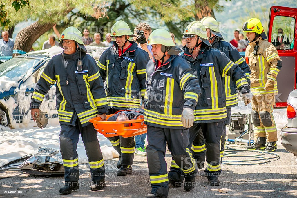 Fifefighing, Civil Search and Rescue excersise demonstration in...
