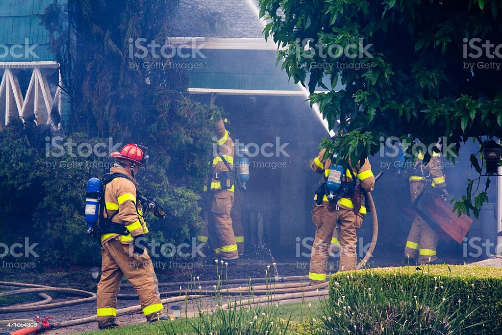 Firefigters At  Work royalty-free stock photo