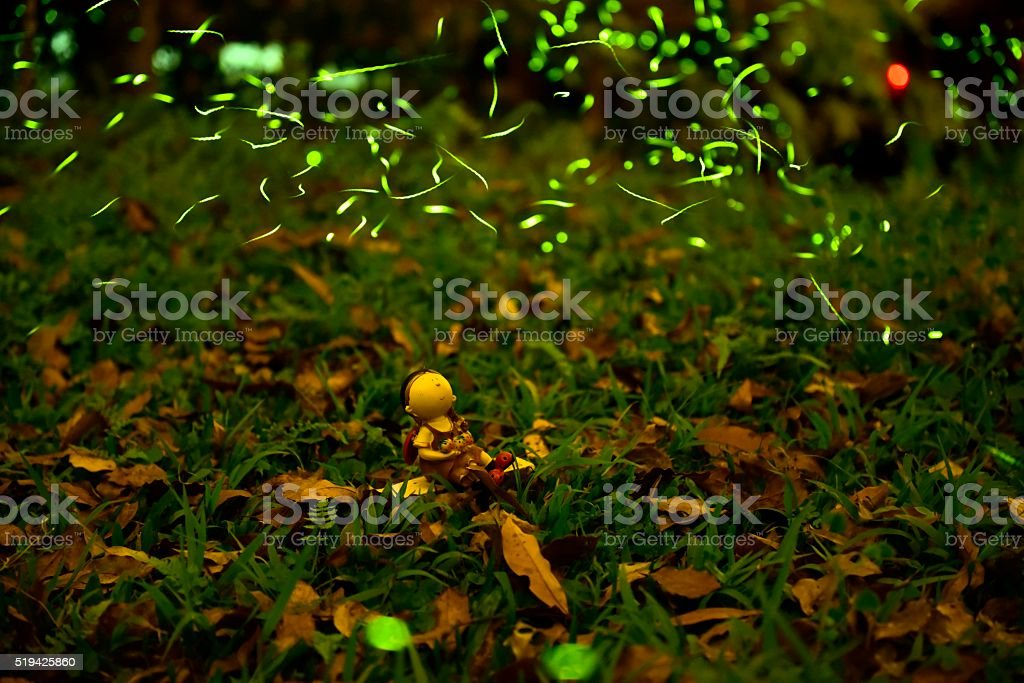Fireflies were flying above tussock and toy figurine stock photo