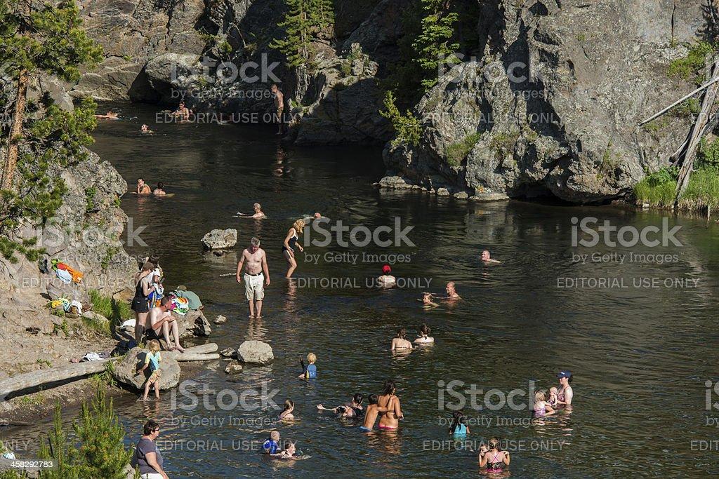 Firehole Canyon Drive Swim Hole in Yellowstone National Park Wyoming royalty-free stock photo