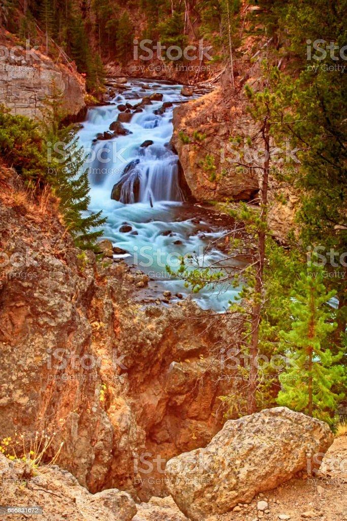Firehole Falls in autumn stock photo