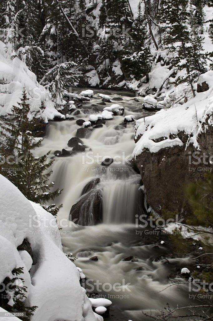 Firehole Falls inn winter stock photo