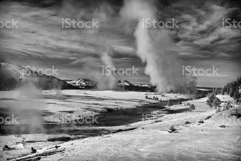 Firehole River and Midway Geyser Basin in winter. stock photo