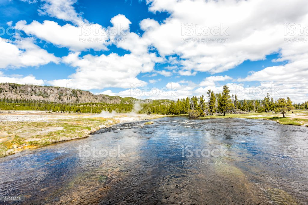 Firehole river at Grand Prismatic spring near Midway Basin stock photo