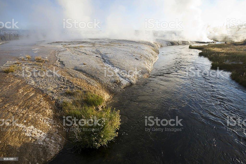Firehole River, Black Sand Geyser Basin stock photo