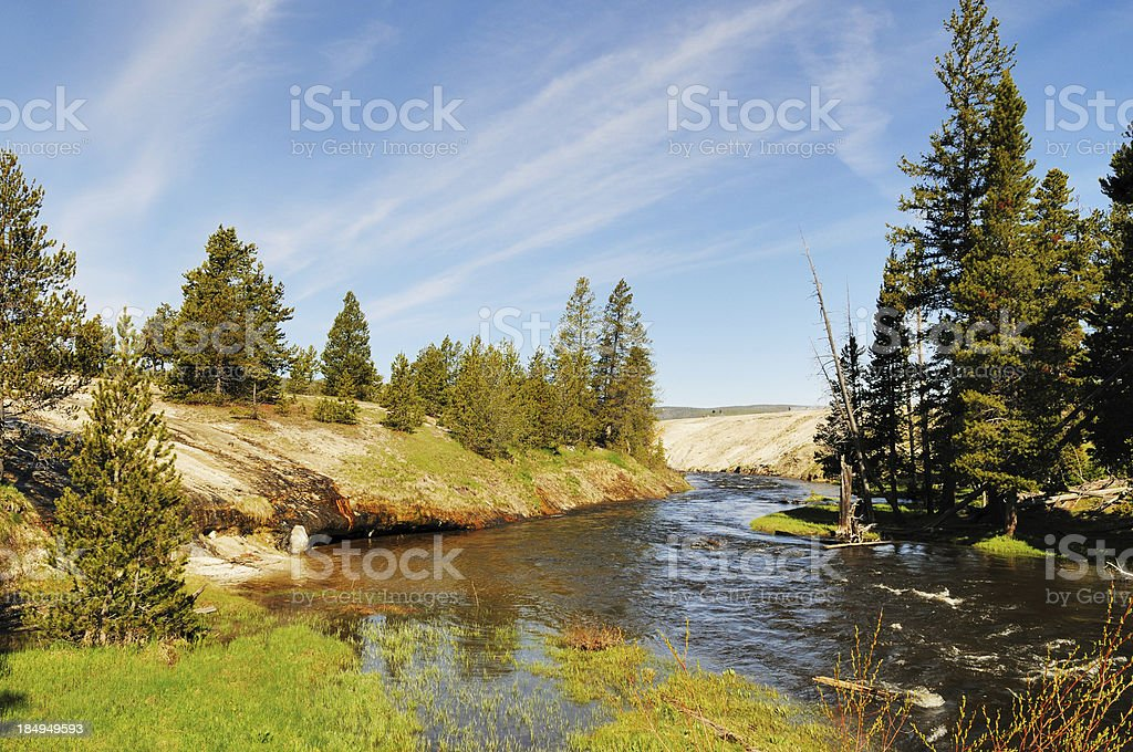 Firehole River in Upper Geyser Basin of Yellowstone National Park stock photo