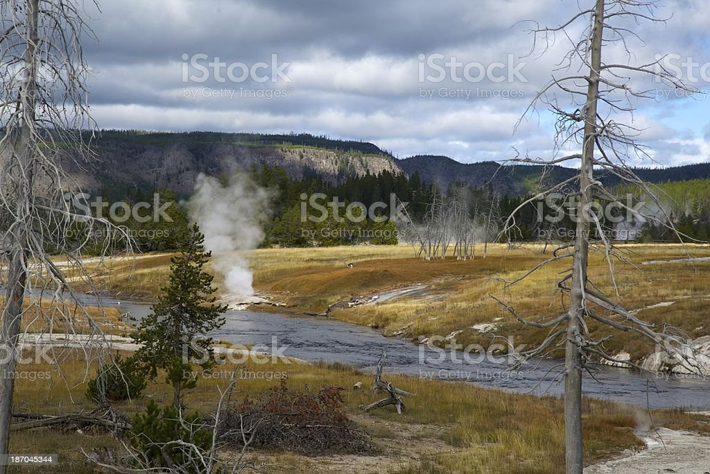 Firehole river in yellowstone national park stock photo