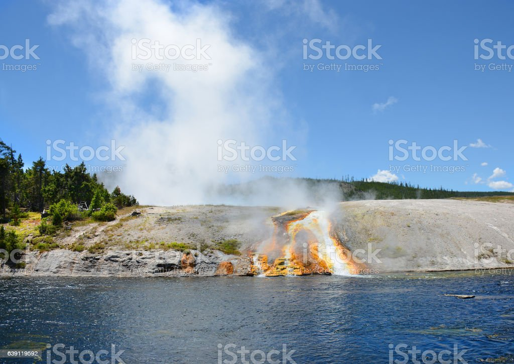 Firehole River in Yellowstone National Park. stock photo