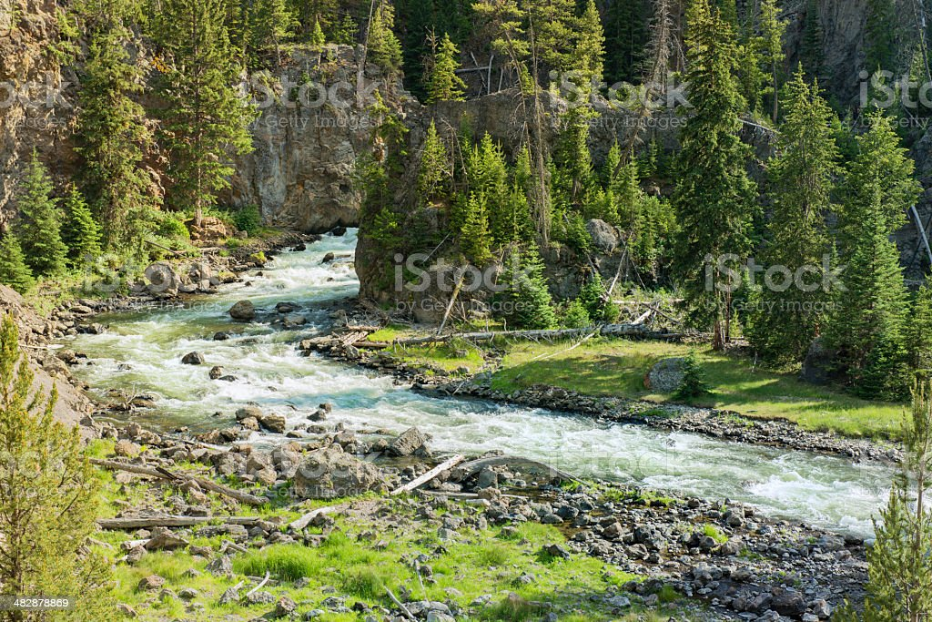 Firehole River in Yellowstone National Park Wyoming stock photo
