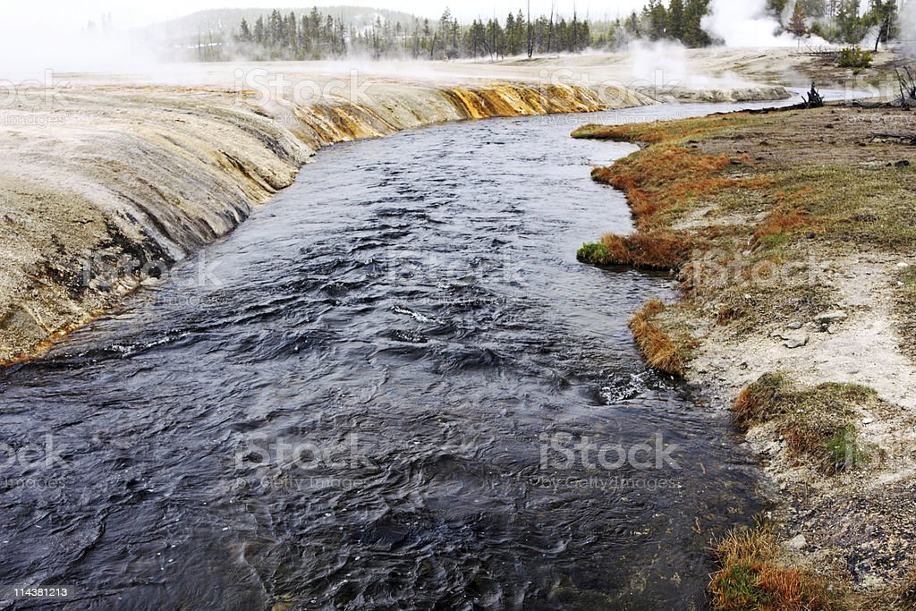 Firehole River in Yellowstone stock photo