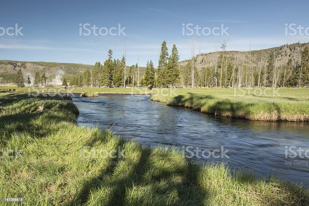 Firehole river of Yellowstone stock photo