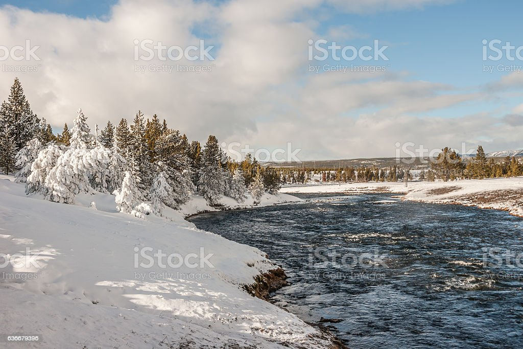 Firehole River on a Winter Day stock photo
