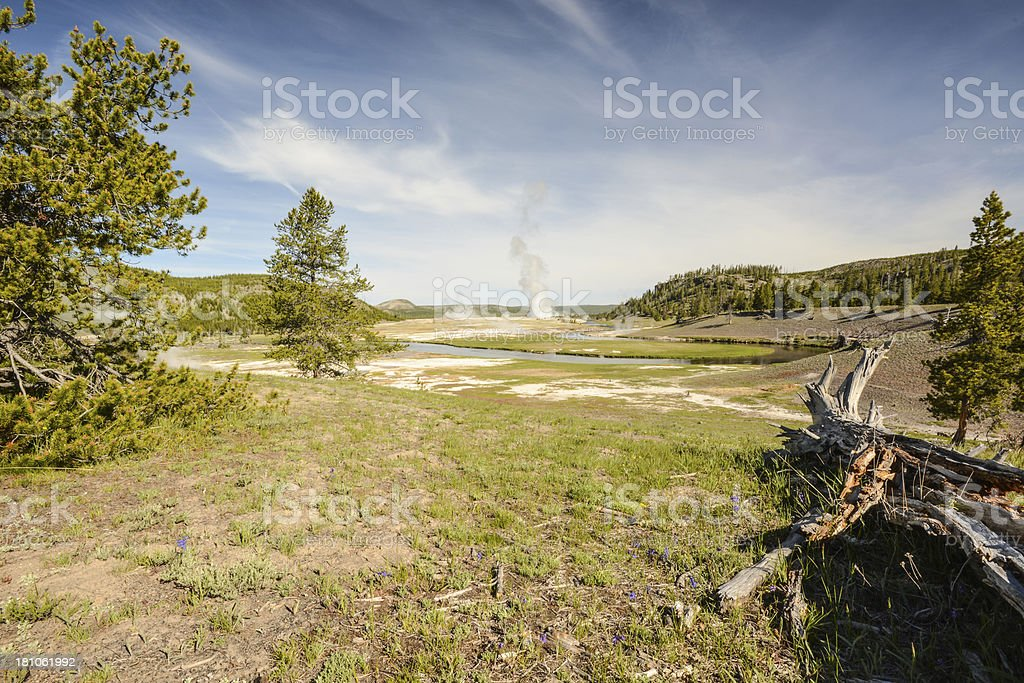 Firehole River Valley and Geysers of Yellowstone National Park royalty-free stock photo