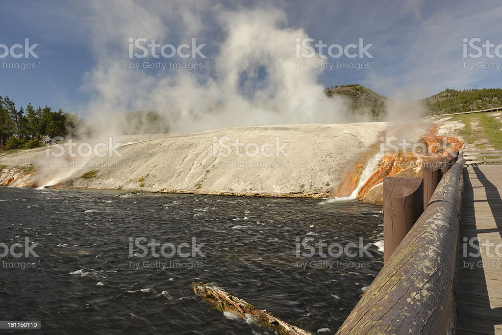 Firehole River with hotsprings and Bridge stock photo