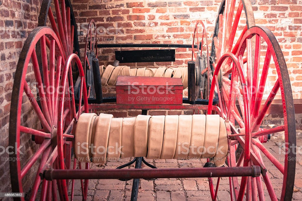Firehose Wagons in John Brown's Fort, Harpers Ferry stock photo