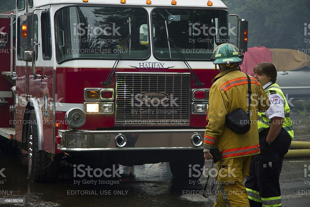Fireman and Paramedic on Scene stock photo