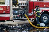 Fireman at fire engine