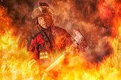 Fireman caught in a Fire