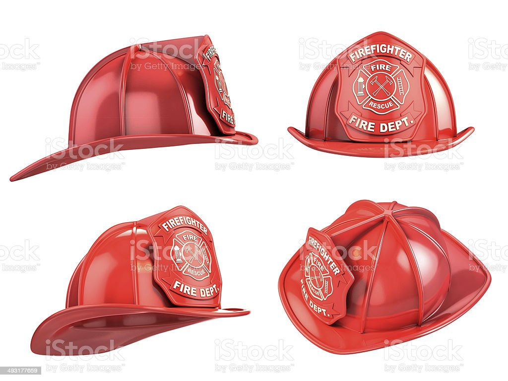 fireman helmet from various angles 3d illustration stock photo