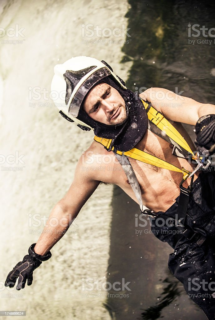 Fireman in action royalty-free stock photo