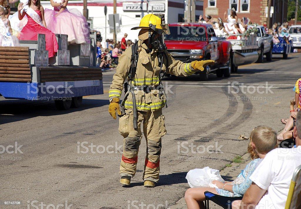 Fireman in parade stock photo