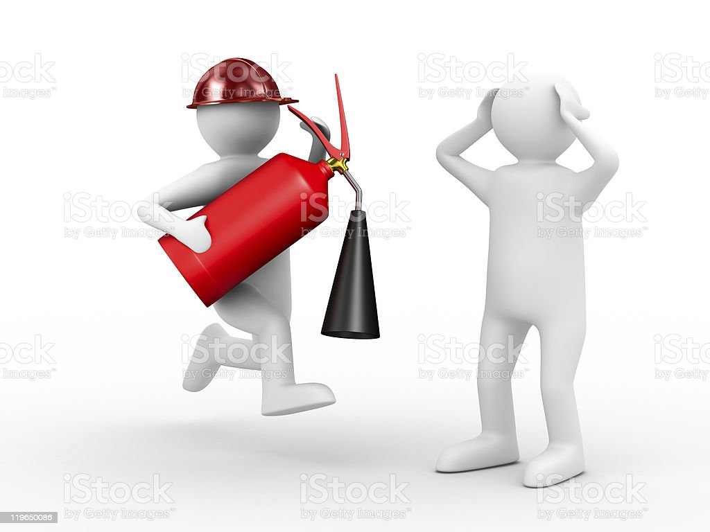 fireman on white background. Isolated 3D image royalty-free stock photo