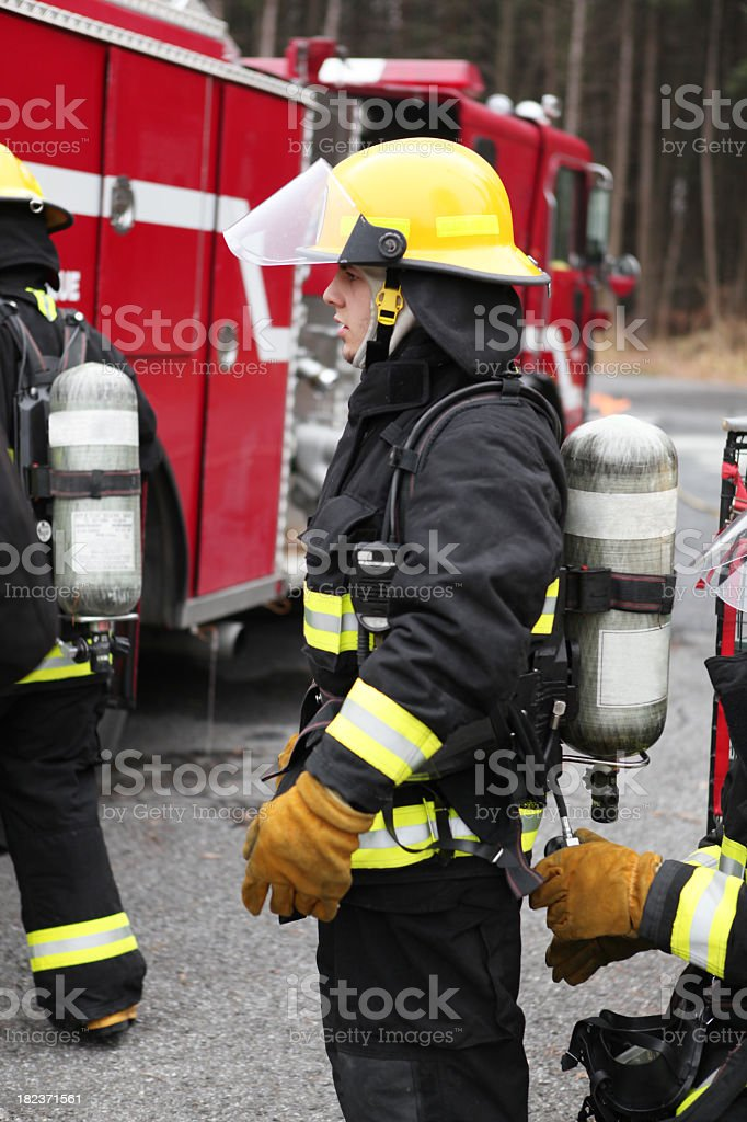 Fireman with air Tank royalty-free stock photo