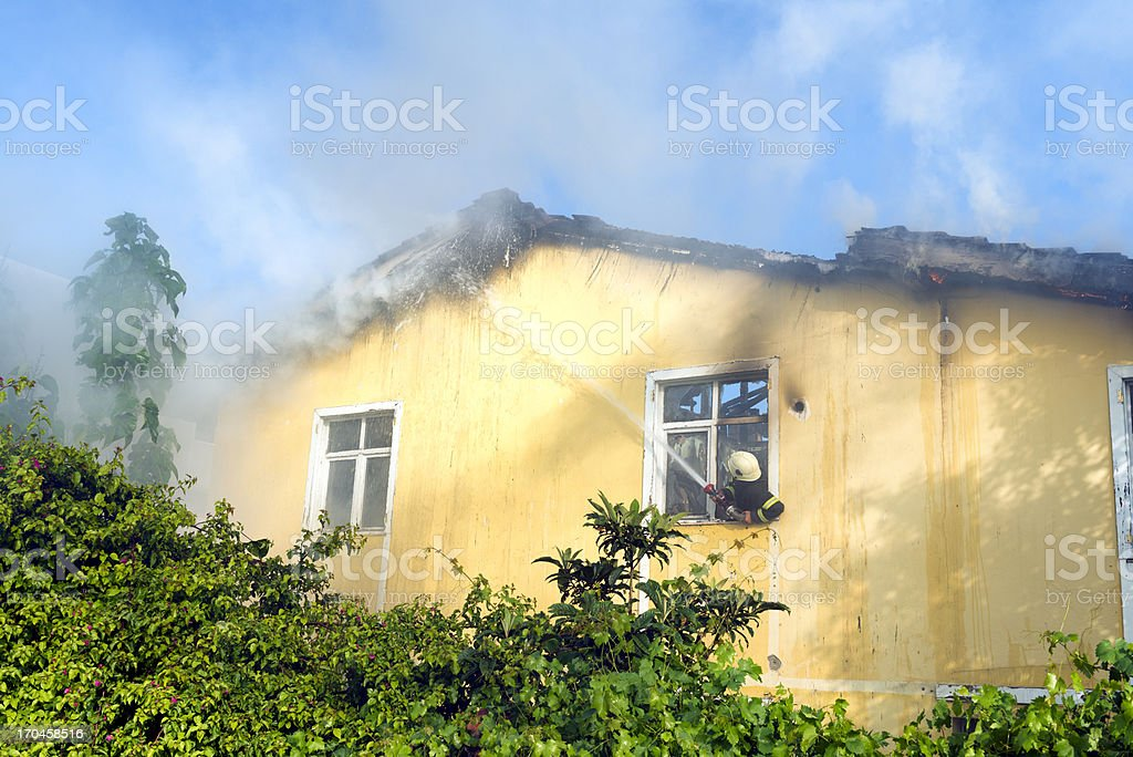 Fireman working royalty-free stock photo