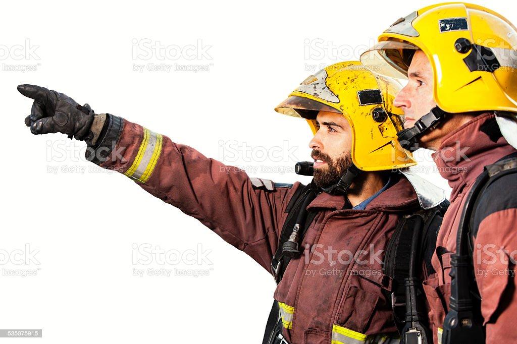 Pompiers analyser feu isolé. photo libre de droits