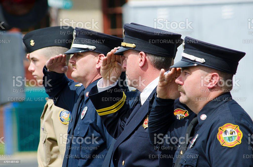 Firemen at a Patriotic Parade stock photo