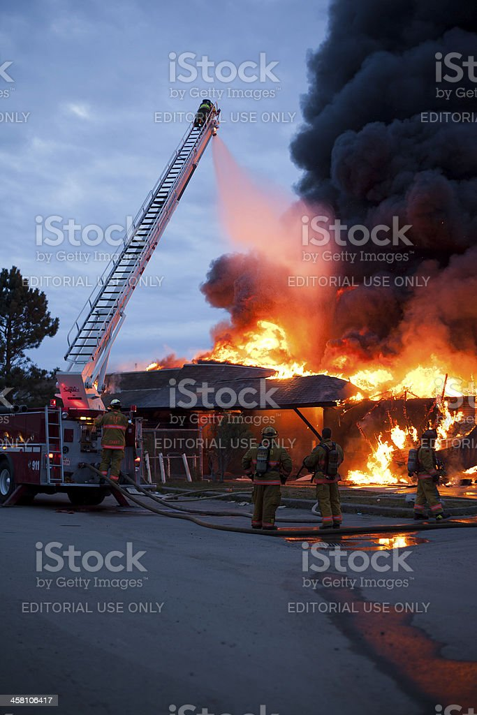 Firemen Attend Structure Fire in Glace Bay stock photo