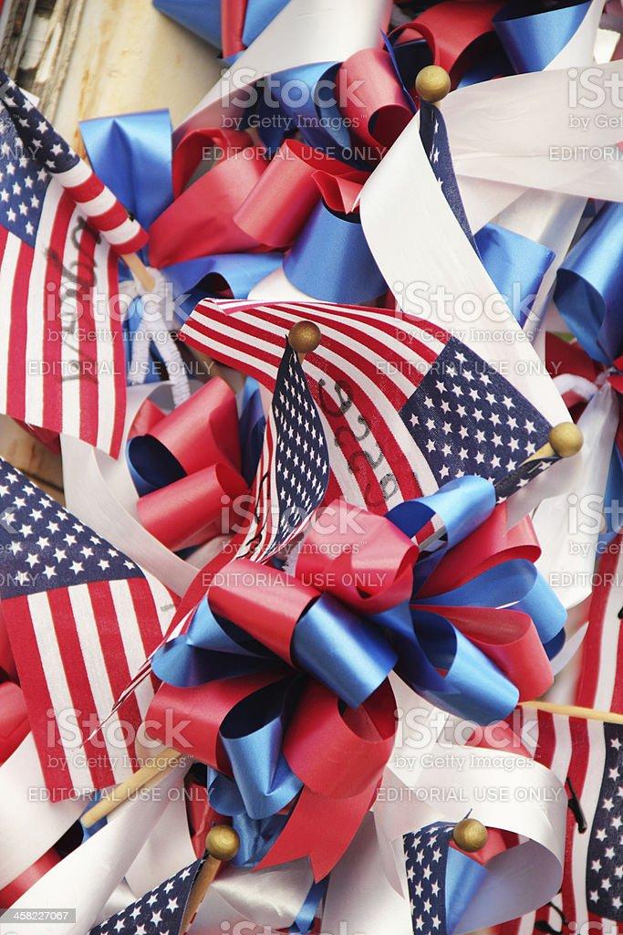 Firemen Flags Memorials Hotshots royalty-free stock photo