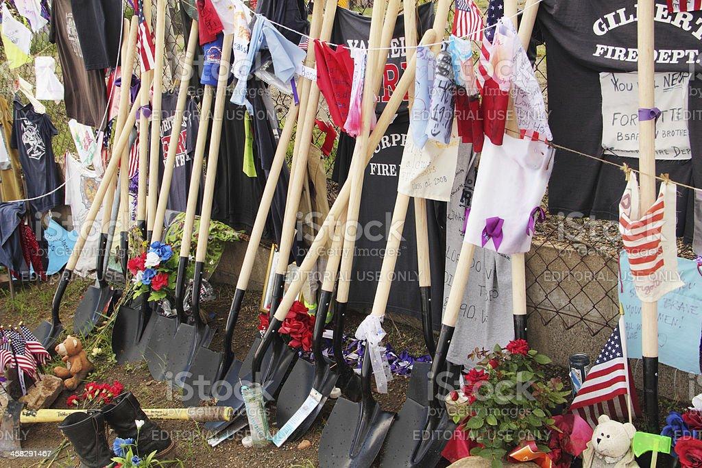 Firemen Hot Shots Shovels Memorial royalty-free stock photo