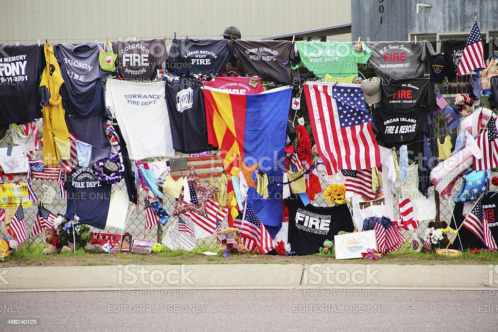Firemen Hotshots Memorial Tee Shirts Flags royalty-free stock photo