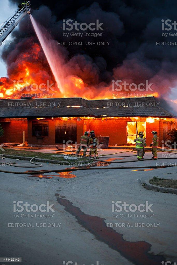 Firemen Watching Fire royalty-free stock photo