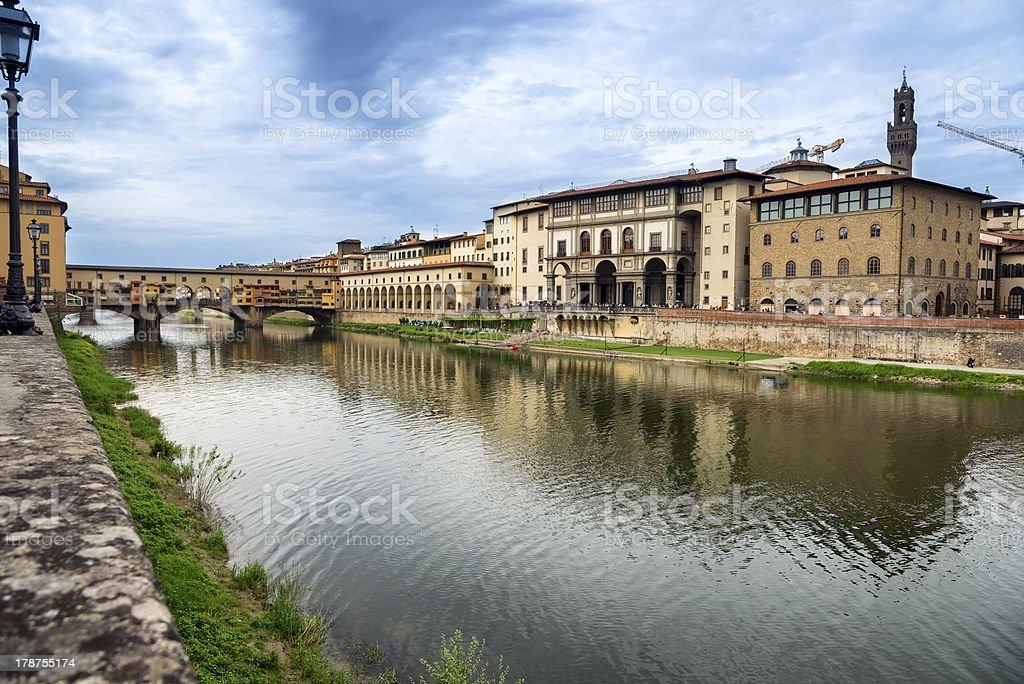 Firenze, Arno and Ponte Vecchio. Tuscany, Italy royalty-free stock photo