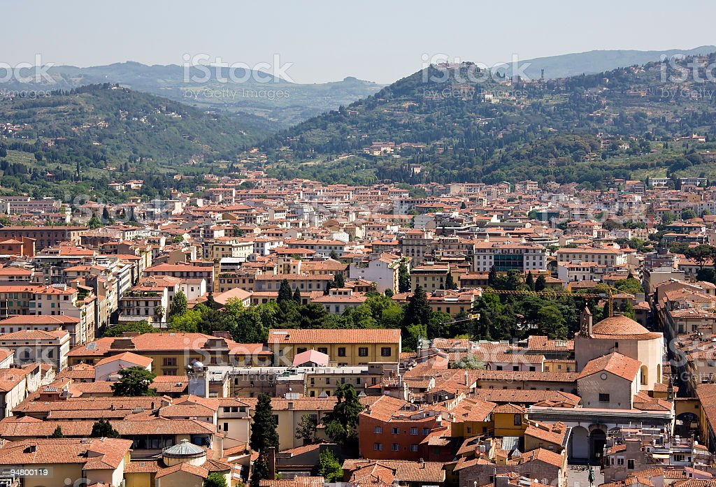 Firenze Cityscape with Fiesole Hills on the Background stock photo