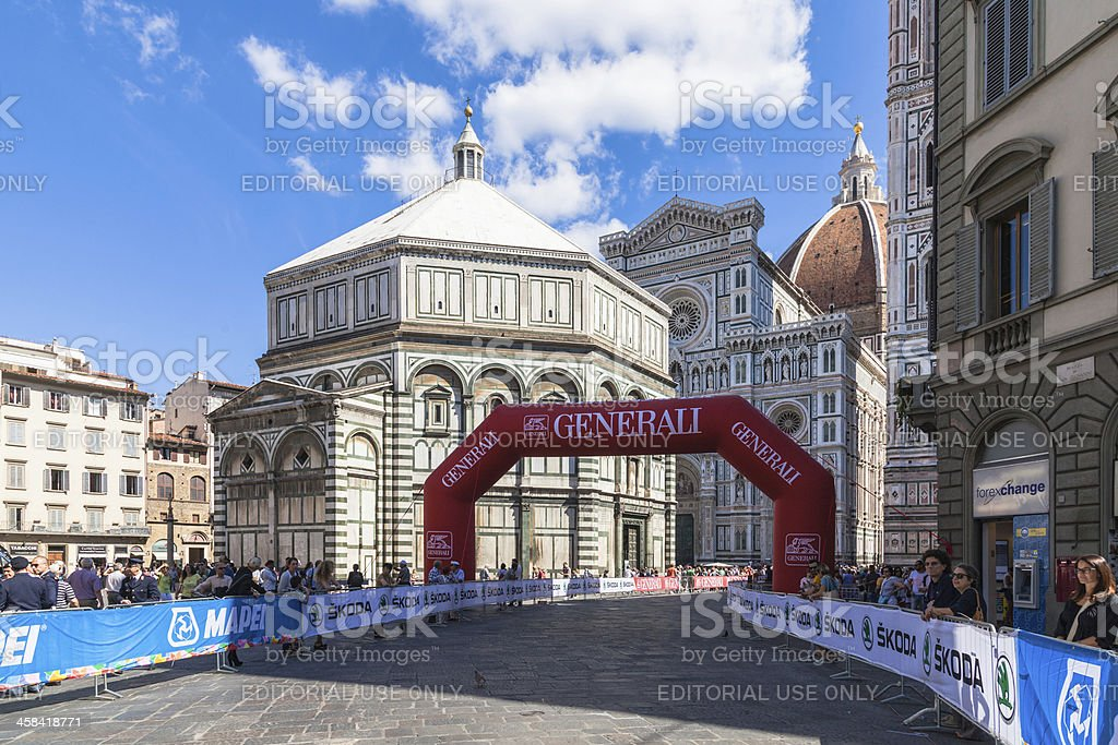Firenze UCI World Championships road cycling in Piazza del Duomo stock photo