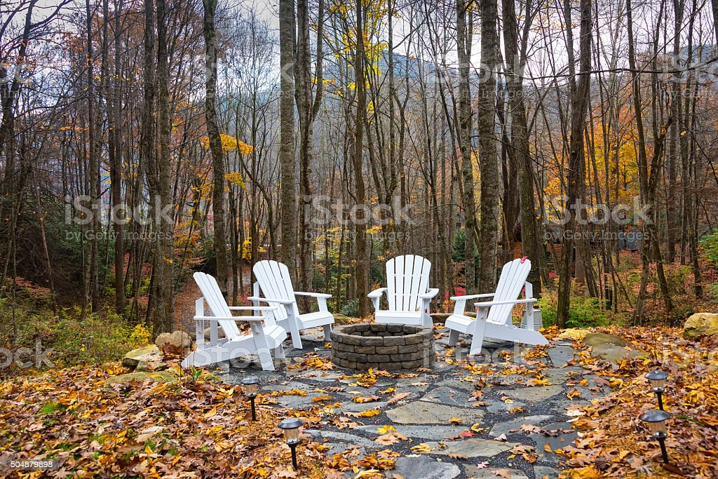 Firepit in the Mountains stock photo