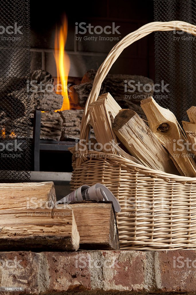 Fireplace and Firewood stock photo