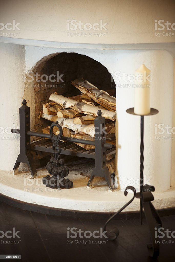 Fireplace and Firewoods stock photo