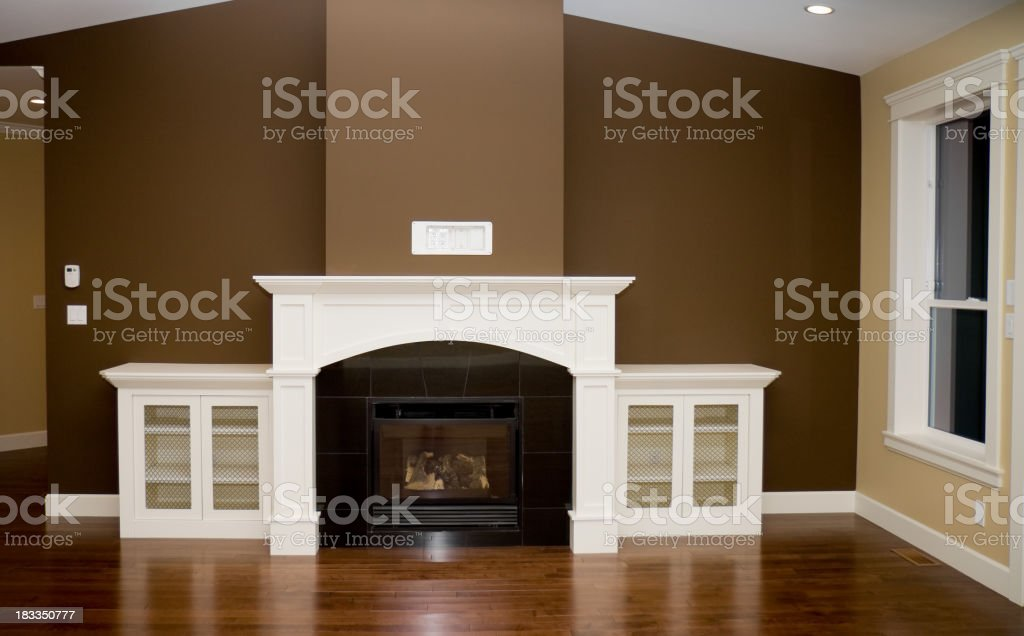 Fireplace and Living Room in New Home stock photo